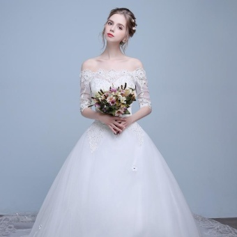 Leondo off the shoulder bridal dress half sleeves lace long train wedding gowns (ivory) - intl - 2