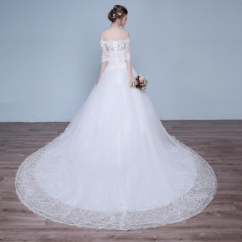 Leondo off the shoulder bridal dress half sleeves lace long train wedding gowns (ivory) - intl - 5