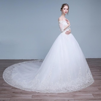 Leondo off the shoulder bridal dress half sleeves lace long train wedding gowns (ivory) - intl - 4