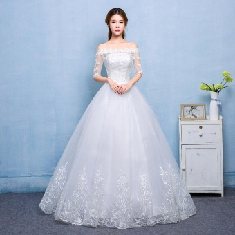 Leondo off the shoulder bridal dresses floor length with lace border wedding gowns (ivory) - intl