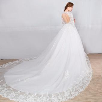 Leondo Plus Size Wedding Dress O-Neck Appliques Sequins Long Sleeve Pregnant Wedding Gown for Bridal Dress Church Train - intl - 3