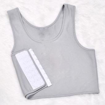Les Tomboy Women Breathable Buckle Short Chest Breast Binder (Grey) - intl