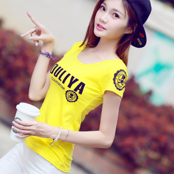 Letter cotton short-sleeved t-shirt Korean-style Top (Lemon Yellow)