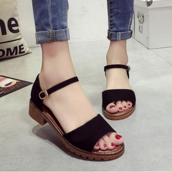Leyi Ms. Fashion Contracted Pure Color Sandals (Black) - intl - 5