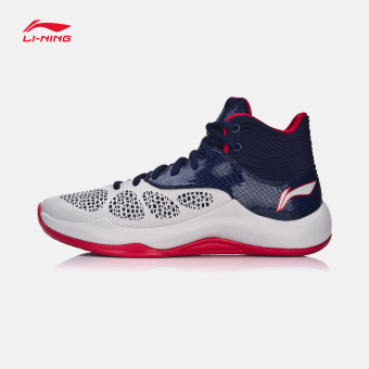 Li Ning ABPM 005 autumn New style sonic breathable sports shoes basketball shoes (Ceramic gray/sapphire blue color/purple red)