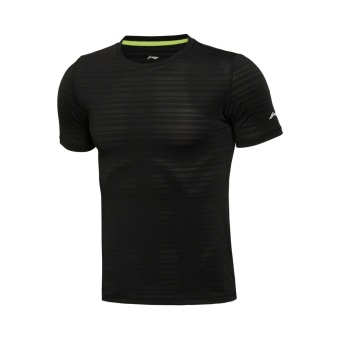 Li Ning atsl 059-1-3-4-5 quick-drying Slim fit-short sleeved breathable T-shirt (Black) (Black)