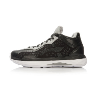 LI-NING basketball shoes men's shoes (Black/cold gray)