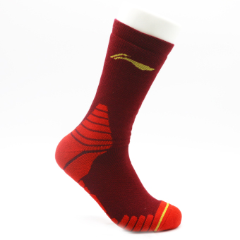 LI-NING high-top athletic socks basketball socks (Wine red color)