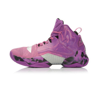 LI-NING hight-top sports shoes basketball shoes (Wind letter purple/new basic black)