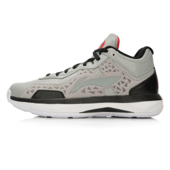 LI-NING official New style cushioning wear and sports shoes basketball shoes (Cold gray/Black)