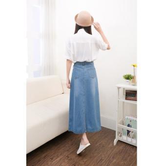 Light Denim Skirting Women Skirts Korean Bust Skirts Big SkirtMidiskirts A-line Midium Dress Skirts Students Casual Jeans - intl - 4