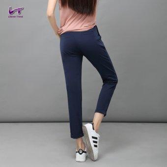 Likener Trend Casu Harem Pant Elastic Waist Ankle-length Pant (Navy Blue) - 4