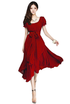 Linemart Bohemian Chiffon Dress (Red)