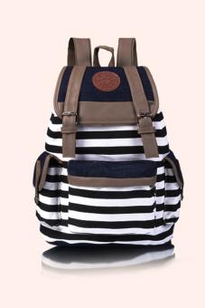 Linemart Canvas Stripe Backpack (Black)