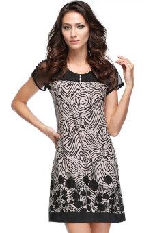 Linemart Casual Short Sleeve Suit Splice Mini Dress (Black/Beige) - picture 2