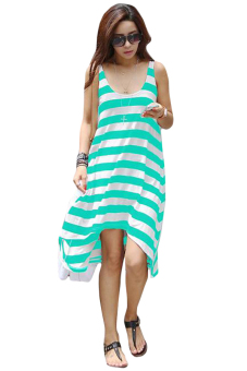 Linemart Casual Stripe Irregular Dress (Green/White)