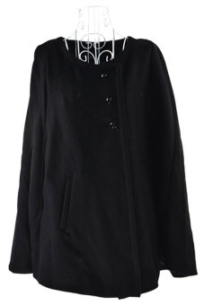 Linemart Charming Cape Wool Jacket Cloak Coat (Black)
