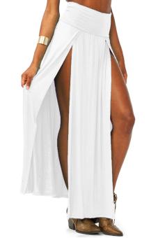 Linemart High Waisted Long Skirt (White)