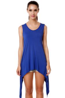 Linemart Irregular Hem Women Mini Dress Summer (Blue)