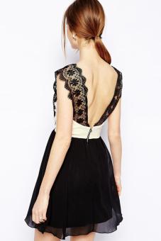 Linemart Lace Splice Women Backless Chiffon Dress Mini (Black) - picture 2