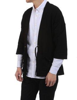 Linemart New Men Casual Open Stitch Front Pockets Drawstring Long Sleeve Solid Loose Coat Kimono ( Black ) - intl - 5