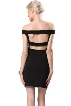 Linemart Off Shoulder Bodycon Mini Dress (Black) - picture 2