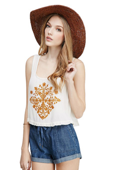 Linemart Pinted Short Tops Sleeveless (White)