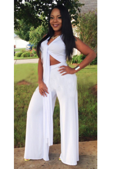 Linemart Sexy V Neck Sleeveless Solid Long Jumpsuit (White)