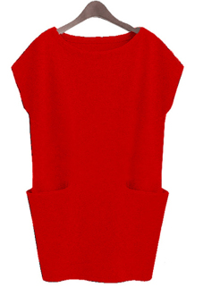 Linemart Short Sleeve Women Mini Casual Dress with Pocket ( Red )