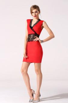 Linemart Summer Women Mini Lace Dress (Red)