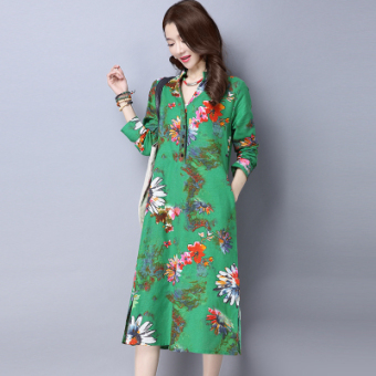 Linen spring models V-neck even clothing long paragraph dress (Green)