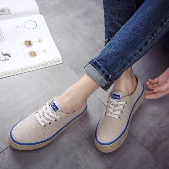 Linen woven bottom muffin thick bottomed sail cloth shoes (Linen color)