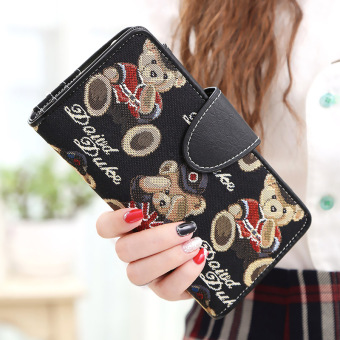 Linjiaxiaofei female New style female Japanese and Korean style clutch bag women's wallet (Long gentleman black)