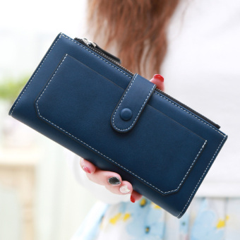 Linjiaxiaofei female New style Japanese and Korean style double leather wallet women's wallet (Dark blue 2)