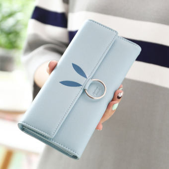 Linjiaxiaofei Japan and South Korea female student three fold clutch bag New style wallet (Light Blue)
