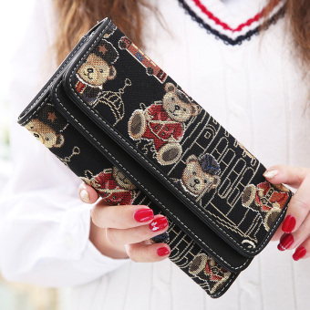 Linjiaxiaofei New style female Japanese and Korean style multi-functional clutch bag women's long wallet (Black)