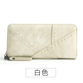 Linjiaxiaofei retro female Japanese and Korean style student clutch bag New style wallet (White)