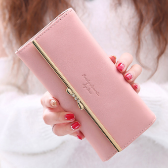 Linjiaxiaofei sweet beauty New style Japanese and Korean style leather wallet women's wallet (Pink)