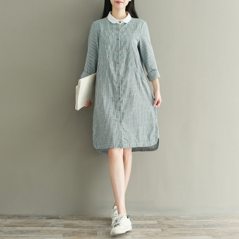 Literary autumn New style long a word dress