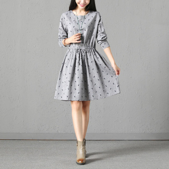 Literary autumn New style long-sleeved dress (Gray)
