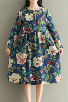 Literary autumn New style Slimming effect Print dress