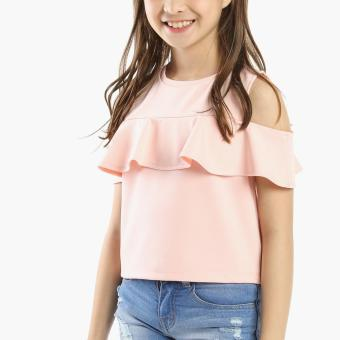 Little Miss Girls Frilled Cold-shoulder Top (Peach)