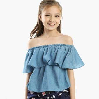 Little Miss Girls Pop-over Chambray Off-shoulder Top (Blue)