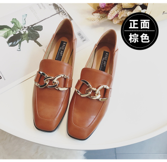Loafers England autumn New style women shoes square head leather shoes (Brown)