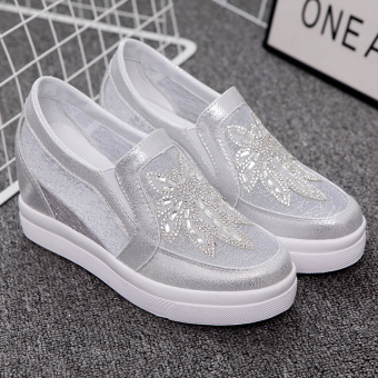Loafers Korean-style crystal summer mesh casual women's shoes (White)
