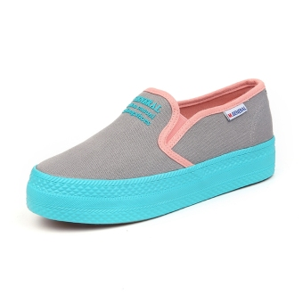 Loafers Korean-style female with students sail cloth shoes (Gray)