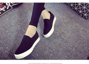 Lok Fu shoes female spring and summer heavy-bottomed increased within the LR shoes canvas shoes (Black) Price Philippines