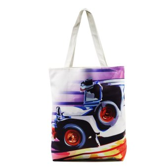 London Fashion Vector Jeepney Tote Bag (White)