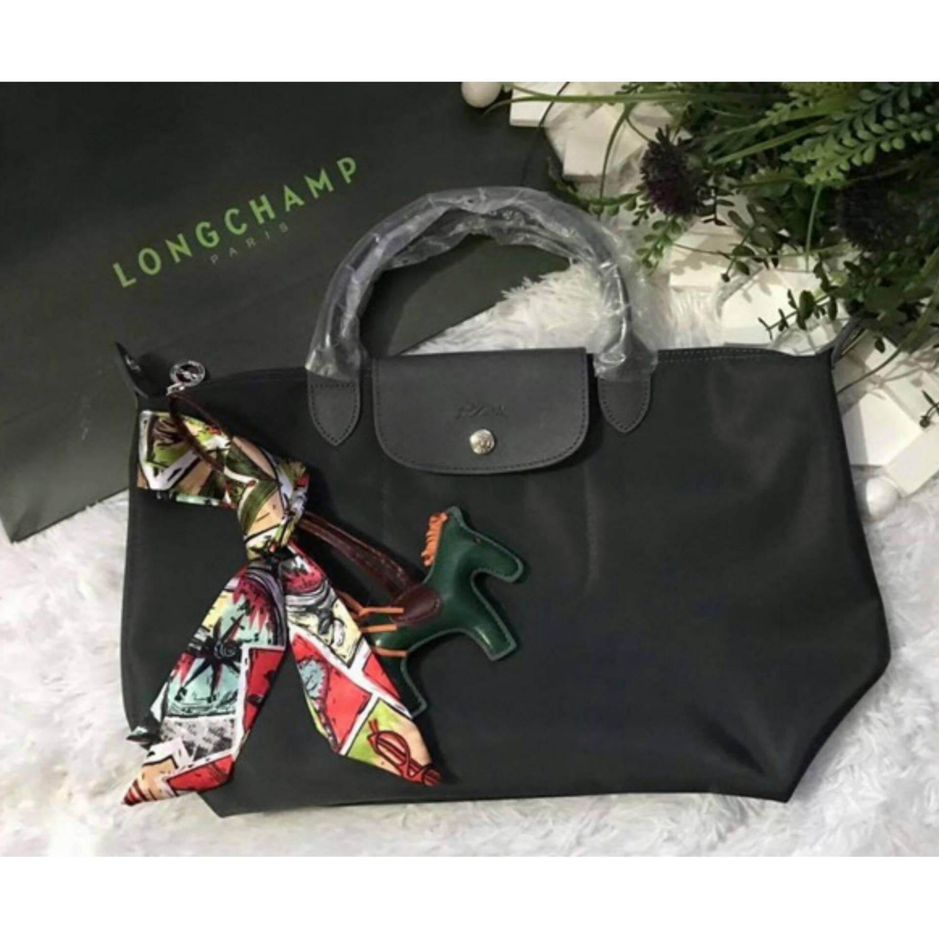 Philippines Long Champ Neo Pliage Medium Short Handle Free Twilly Longchamp Black Authentic Rodeocharm