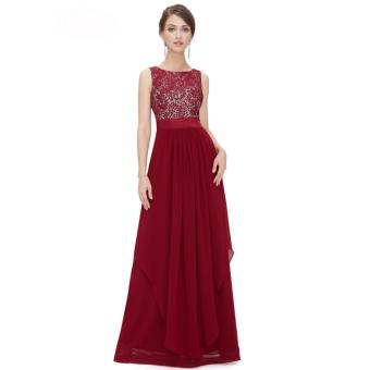 Long Chiffon Bridesmaid Dress V-back Evening Gown Prom Party Dress Red - intl - 4